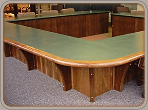 custom walnut, Corian and walnut conference tables