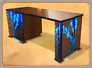 Custom Wood Desks with LED lights